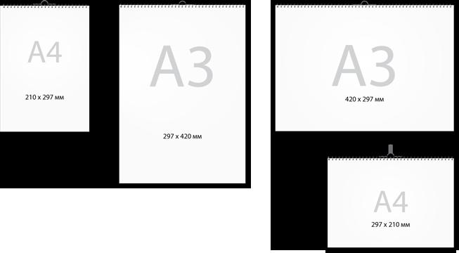Схема вертикального перекидного календаря А4 с размерами в мм